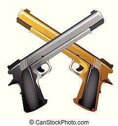 közelkép, illustration., arany, kézifegyverek, elszigetelt, emlék, háttér., vektor, keresztbe tett, fehér, ezüst, karikatúra