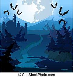 közelkép, illustration., bűbájos, vektor, át, erdő út, karikatúra, night.