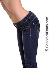 közelkép, nő, farmernadrág, elszigetelt, jeans., fehér, szegély kilátás
