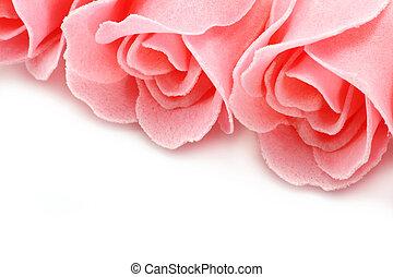 közelkép, szappan, háttér, agancsrózsák, rózsaszínű, fehér