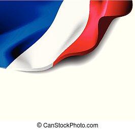 közelkép, világűr ábra, franciaország, hullámzás, háttér., lobogó, vektor, árnyék, másol, fehér