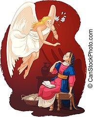 közlemény, angyal, gabriel, megtestesülés, jézus, annunciation., mária
