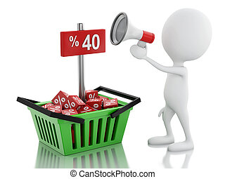 közlemény, bevásárlás, kiárusítás, basket., ember, hangszóró, 3