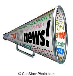közlemény, légiriadó, fontos, bullhorn, hír, hangszóró