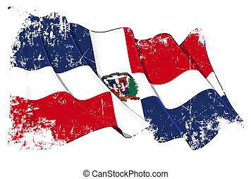 köztársaság, lobogó, grunge, dominikai