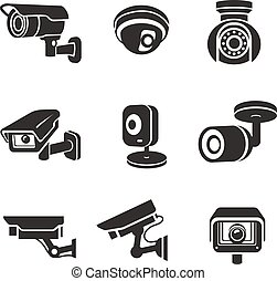 közvélemény-kutatás, video fényképezőgép, állhatatos, ikon, pictograms, grafikus, biztonság