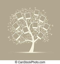 közzétesz, családfa, tervezés, fénykép, keret, -e