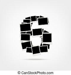 közzétesz, elkészített, keret, fénykép, hat, szám, fénykép, -e