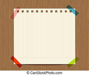 közzétesz, fából való, szöveg, fal, jegyzetfüzet papír, vonalazott, -e