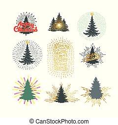 különböző, ábra, vektor, bitófák, frework, karácsony