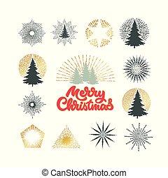 különböző, ábra, vektor, bitófák, tűzijáték, karácsony