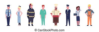 különböző, állhatatos, csoport, emberek, munkás, szellemi foglalkozás, gyűjtés, foglalkozás