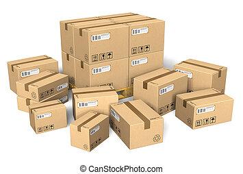 különböző, állhatatos, dobozok, kartonpapír