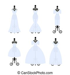 különböző, állhatatos, dresses., mannequins., mód, vector., esküvő, talár, fehér, styles., felruház