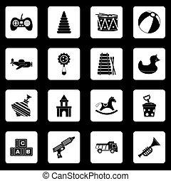 különböző, állhatatos, gyerekek, ikonok, vektor, apró, blokkok