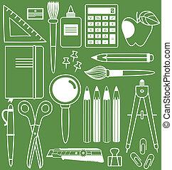 különböző, állhatatos, illustration., iskola részlet, vektor, irodaszer