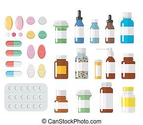 különböző, állhatatos, palack, színes, orvosi, pirula, elszigetelt