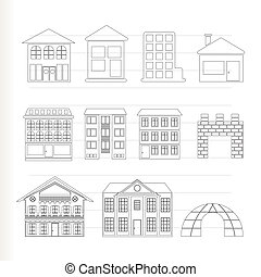 különböző, épület, kinds