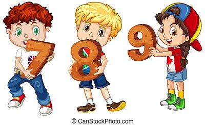 különböző, birtok, matek, gyerekek, három, szám