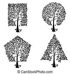 különböző, bitófák, shapes., geometriai