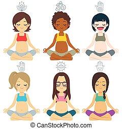 különböző, csoport, beállít, jóga, terhes