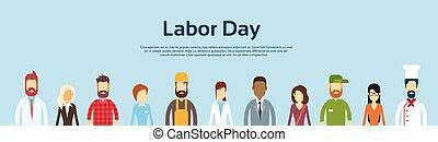 különböző, csoport, emberek, állhatatos, munka, nemzetközi, transzparens, nap, foglalkozás