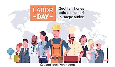 különböző, csoport, emberek, felett, térkép, munka, világ, nemzetközi, nap, foglalkozás