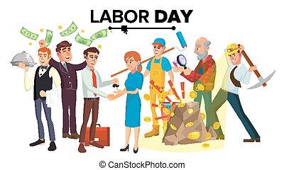 különböző, csoport, emberek, set., betű, elszigetelt, ábra, munka, vector., nemzetközi, karikatúra, nap, foglalkozás