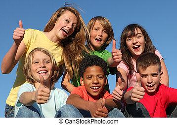 különböző, csoport, faj, gyerekek