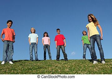 különböző, csoport, gyerekek