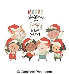 különböző, csoport, jelmezbe öltöztet, gyerekek, háttér, hazafiságok, white christmas