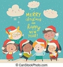 különböző, csoport, jelmezbe öltöztet, gyerekek, hazafiságok, karácsony