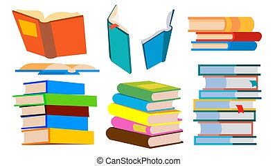különböző, felolvasás, pile., concept., elszigetelt, ábra, kazal, height., előjegyez, vector., eltérít, karikatúra, tanulás