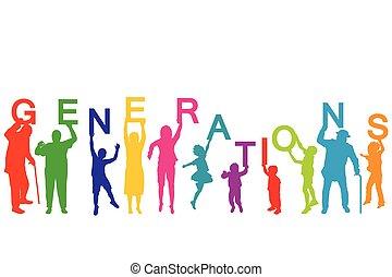 különböző, fogalom, évek, nemzedék, emberek