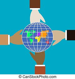 különböző, globe., négy, befest, kézbesít, befolyás
