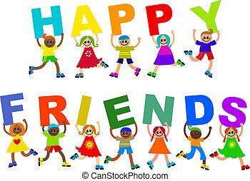 különböző, gyerekek, boldog, barátok, szöveg