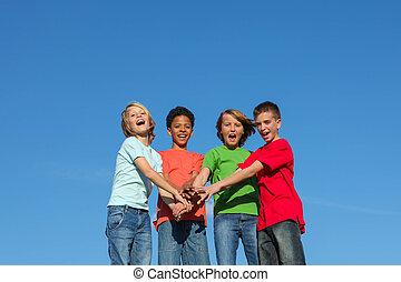 különböző, gyerekek, csoport, tizenéves kor, vagy