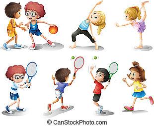 különböző, gyerekek, játék, gyakorlás, sport