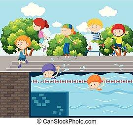 különböző, gyerekek, liget, játék, sport