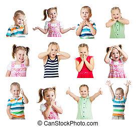 különböző, gyerekek, pozitív, elszigetelt, gyűjtés, érzelmek, háttér, fehér