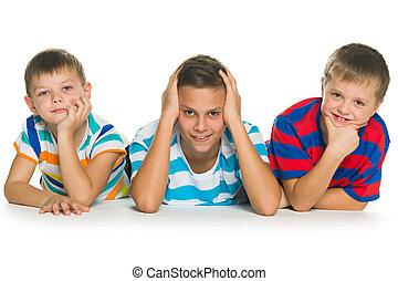 különböző, három, érzelmek, gyerekek