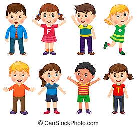 különböző, helyek, ábra, vektor, gyerekek, boldog