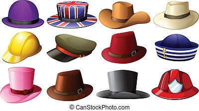 különböző, kalap, tervezés