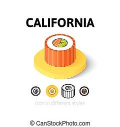 különböző, kalifornia, mód, ikon