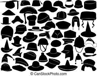 különböző, kinds, kalapok