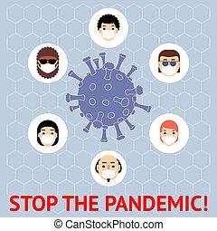 különböző, masks., illustration., pandemic., emberek, abbahagy, coronavirus., 2019-ncov, regény, oltalmazó, banner., vektor, coronavirus, országok