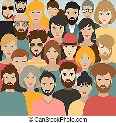 különböző, nagy, vector., emberek., csoport, tolong