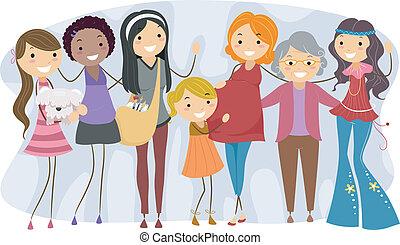 különböző, nemzedék, nők