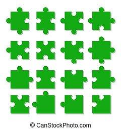 különböző, rejtvény, jigsaw., darabok, pieces., írógépen ír
