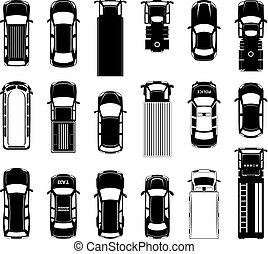 különböző, road., ikonok, autók, tető, tető, autó, vektor, fekete, kilátás